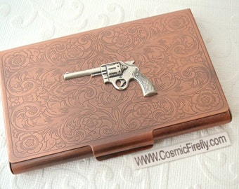Wild West Gun Card Holder Antiqued Copper Business Card Case Victorian Steampunk Card Holder Silver Cowboy Gun Card Case Copper Card Case