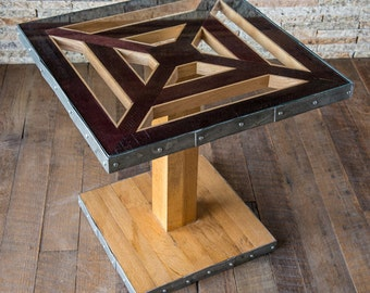 Modern Wine Barrel Pedestal Table with Glass Top