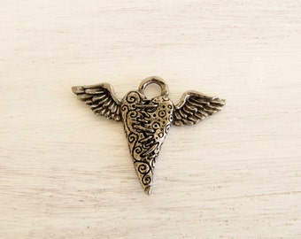 Heart Wing Charm Pendant Green Girl Studio pewter charm necklace bracelet jewelry charm #218