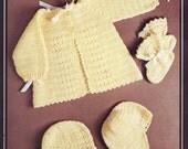 PDF Crochet Pattern / Vintage Baby Crochet Pattern  /Jacket Bonnet and Booties / PDF instant download Post Free