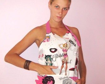 Apron pink SEXY Retro 50's Mid Century Pin-up Lingerie/ Gift for Her/SPECIAL OFFER/