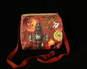 Serenity Shiny Kaylee inspired medium zippered purse for Firefly fans, Browncoats, and cool chicks. great for conventions. shoulder strap