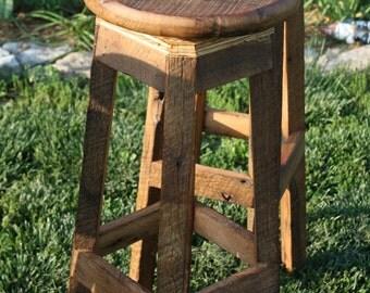 "YOUR Custom Reclaimed Rustic Swivel Oak Barn Wood  18""-36"" Bar Stool with FREE SHIPPING - RBSS138"