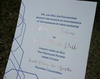 Rose Gold Foil and Navy Letterpress Wedding Invitations, Modern Geometric Wedding Invites, Rose Gold Hot Foil Stamped, Foil and Letterpress