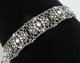 Crystal Bridal bracelet, Cuff Wedding bracelet, Bridal jewelry, Swarovski bracelet, Art Deco bracelet, Filigree bracelet, Vintage style
