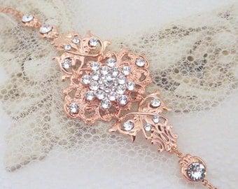 Rose Gold Bracelet, Swarovski bracelet, Wedding jewelry, Bridal bracelet, Crystal bracelet, Statement bracelet, Cuff bracelet Bridal jewelry