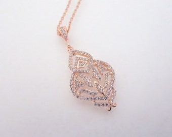 Rose Gold Bridal Necklace, Simple Wedding necklace, Bridal jewelry, Art Deco necklace, Rose Gold necklace Crystal necklace Pendant necklace