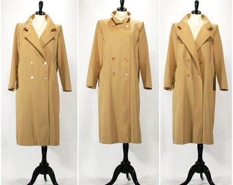 Vintage Rain Coat, Warm 1960s Tan Forecaster Khaki Double Breasted Trench Coat, Beige Rain Jacket, Size Large Extra