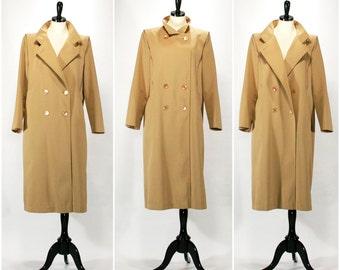Vintage Rain Coat, Fall / Autumn 1960s Tan Forecaster Khaki Double Breasted Trench Coat, Beige Rain Jacket, Size Large Extra