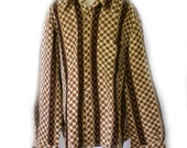 Lucien Piccard Shirt 60s Mens Shirt Woven Browns Sz L to Sz XL 48 Inch Chest