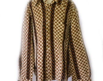 Lucien Piccard Shirt 60s Mens Shirt Woven Browns Sz L to Sz XL 48 Inch Chest