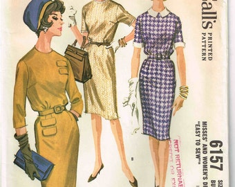 Blouse Bodice Dress Slim Three Gore Skirt Gathered Waistline McCalls 6157 Vintage 1960s Sewing Pattern Size 12 Bust 32
