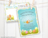Easter Egg Hunt or Easter Brunch Party Customized Printable invitation and thank you note card stationery print at home personalized file