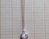 Porcelain Croft Necklace - White Ceramic & Pewter Pendant