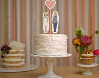 Wedding Cake Topper Set - Bride, Groom and Heart