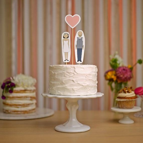 Wedding Cake Topper Set - Bride, Groom and Heart