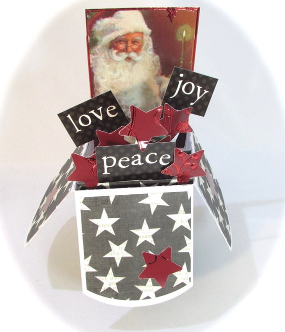 Pop Up Christmas Card Santa Card In Box Unique Greeting Card