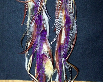Purple Feather Earrings, Natural Feather Earrings, Purple Feather Extensions, Hippie, Brown and Purple, Purple Jewelry, Purple Hair Feathers