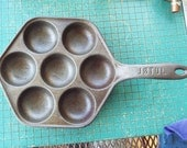 """Cast Iron Aebelskiver Pan, vintage Jotul, Made in Norway , 8"""" , kitchen cookware, cast iron frying pan"""