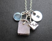 Tea Bag Necklace - Handstamped initial, Persinalized name, Customized Swarovski crystal birthstone