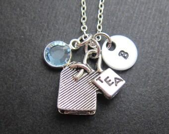 Tea Bag Necklace - Handstamped initial, Persinalized name, Customized Swarovski crystal birthstone