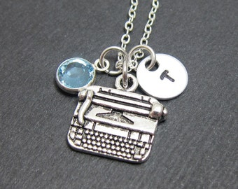 Typewriter Necklace - Personalized Handstamped Initial Name, Customized birthstone