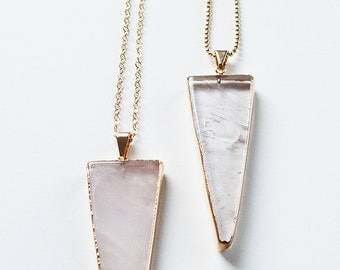 SALE Rose Quartz Triangle Necklace