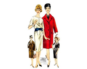 1960s Vogue Couturier Design 1014, Womens Coat & Dress Pattern by Irene Galitzine, Bust 34 Vintage Sewing Pattern, Uncut with Label