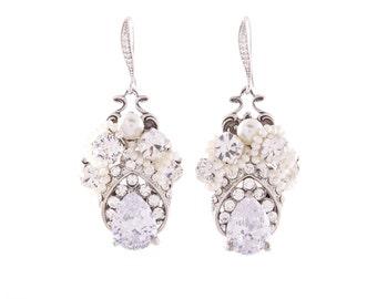 Wedding Earrings, Vintage Bridal Earrings , Bridal Statement Earrings , Bridal Crystal Earrings , Ivory Pearl Earrings , Dangle Earrrings