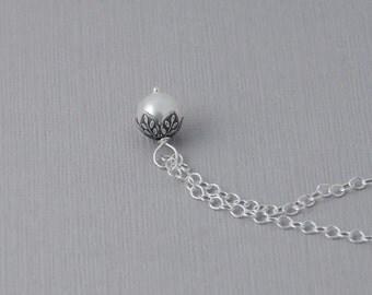 Pearl necklace / single pearl necklace / bridesmaid necklace