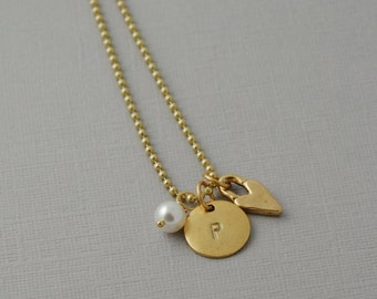 Gold Plated Initial necklace / hand stamped pewter Initial necklace
