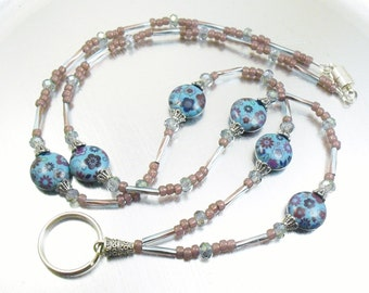 Lanyard - Turquoise Floral Beaded Lanyard, ID Badge Holder, ID Necklace