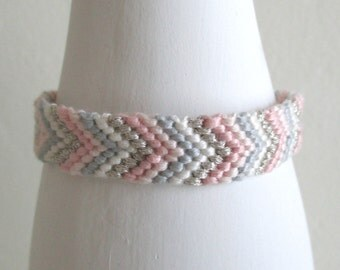 Pastel Friendship Bracelet, Silver and Pink Bracelet, Woven Bracelet, Cotton Bracelet, hand made bracelet, stacking bracelet, arm candy