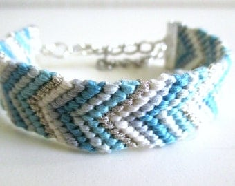 Blue Friendship Bracelet, Silver and Seafoam Bracelet, Woven Bracelet, Cotton Bracelet, hand made bracelet, stacking bracelet, arm candy
