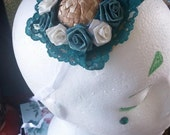Teal and White Roses against Teal Lace on Mini Straw Hat