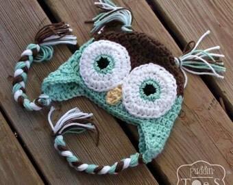 Crochet Baby Owl Hat, Mint Green Owl Baby Hat, Crochet Photo Prop, Owl Baby Shower Gift