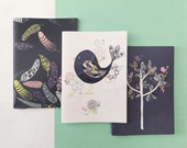 100% recycled A6 notebooks - feathers / fat birdie / tree
