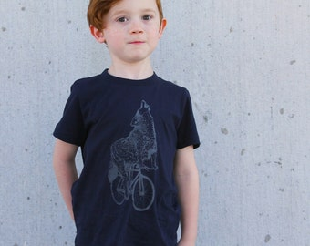 Wolf on a Bicycle -  Kids T Shirt, Children Tee, Tri Blend Tee, Handmade graphic tee, sizes 2-12