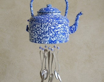 Blue & White Mottle--Mid-Century tea kettle Upcycled into a Windchime