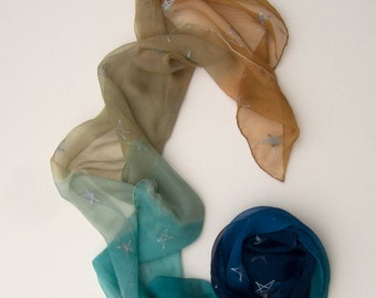 Pacific sky silk scarf hand painted/ Silk chiffon scarf with Silver stars/ Handpainted scarf in gradation of beige to blue/ Ombre scarves