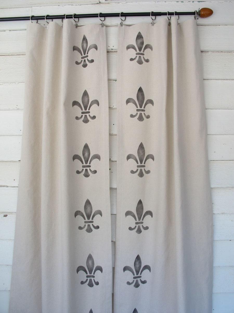 Hand Stenciled Canvas Drapes Fleur De Lis Painted Curtains