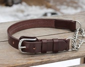 """Adjustable chain martingale leather dog collar 1"""" wide - opening half check with Brass or Steel chain"""