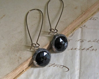 Black Faceted Glass Earrings Stained Glass Jewelry