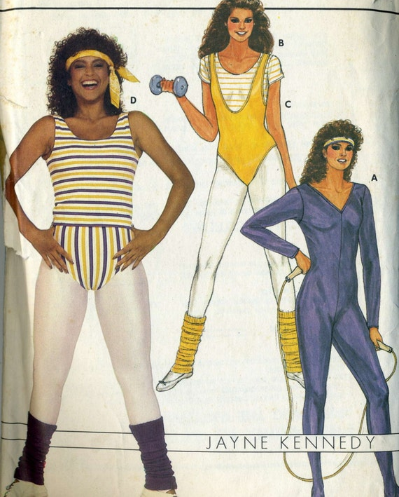 vintage 1980s butterick 6319 workout clothes leotard