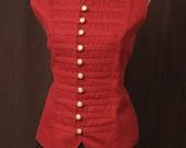 The Redcoats are Coming - Military Style Red Waistcoat Vest - Gold Buttons - Steampunk