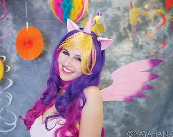 Alicorn Set (Pony Ears, Angel Wings, and Unicorn Horn) 11 Colors - for Cosplay, Parties, Clubbing, Cons, Fun, Halloween Costume