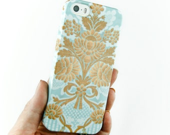 Pretty iPhone Case, Girly iPhone 6 Case, Damask iPhone 5S, Blue and Gold  Case Samsung Galaxy iPhone 6 Plus Case