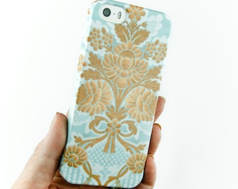 Pretty iPhone Case, Girly iPhone 6 Case, Damask iPhone 5S, Blue and Gold iPhone 5C Case Samsung Galaxy iPhone 6 Plus Case