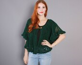 70s Forest Green CROCHET SWEATER / 1970s Angel Sleeve Open Weave PONCHO Cardigan
