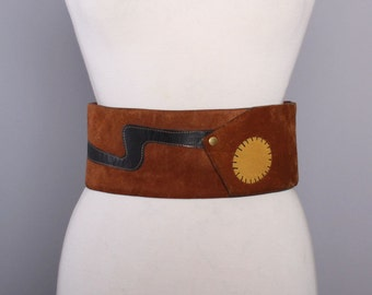 70s VERA Boho Hippie BELT / Extra Wide 1970s Applique LEATHER & Suede Cinch Belt